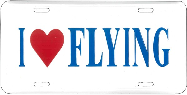 License Plate I Love Flying Tag Ilf
