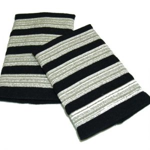 EPAULET METALLIC SILVER NAVY 4 STRIPES