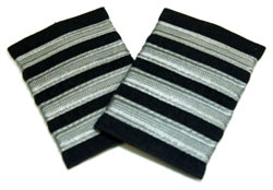 EPAULETS METALLIC SILVER ON NAVY WITH VELCRO