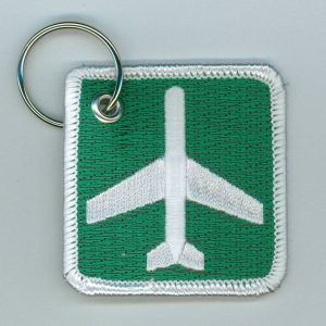Key Chain, Embroidered Airport Ahead