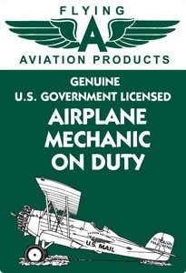 Airplane Mechanic on Duty Vintage Tin Sign